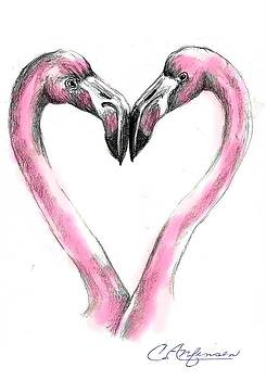 Flamingoes in love2 by Carol Allen Anfinsen