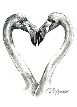 Flamingos in love by Carol Allen Anfinsen