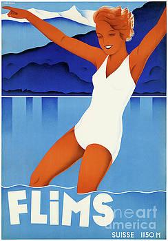 Flims Switzerland Vintage Travel Poster Restored by Carsten Reisinger