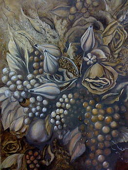 Floral and Grapes Still Life by Patti Lane