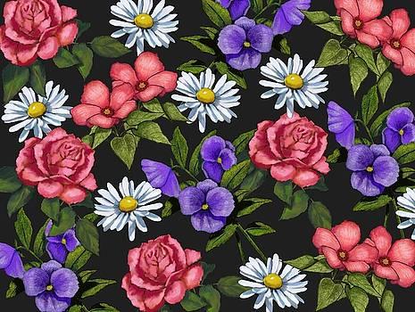 Joyce Geleynse - Flower Pattern on Black
