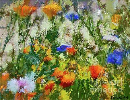 Flowering Meadow with Marigold, Cornflower and Dandelion by Dragica Micki Fortuna