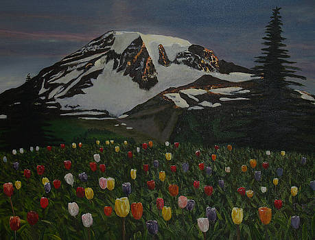 Flowers And Mountain by Pedro Riera