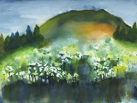 Flowers By The Mountain Abstract by Frank Bright