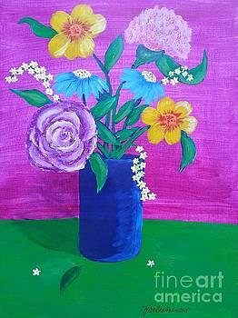 Flowers in a Blue Vase by Karleen Kareem