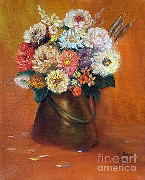 Flowers in a Metal Vase  by Marlene Book