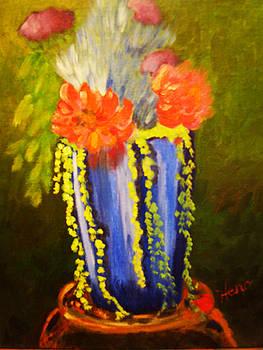 Flowers in Blue Ceramic by Marcia  Hero