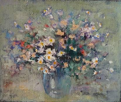 Flowers in glass vase by Natalia Bardi