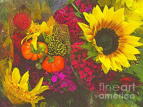 Flowers of Fall - Sunflower and Baby Pumpkins by Miriam Danar