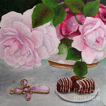 Flowers on the Dresser Amethyst Cross by Mary Hughes