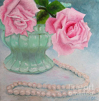 Flowers on the Dresser Pearls by Mary Hughes