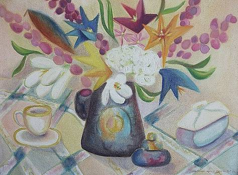 Suzanne  Marie Leclair - flowers Tin Vase and Tea Cup