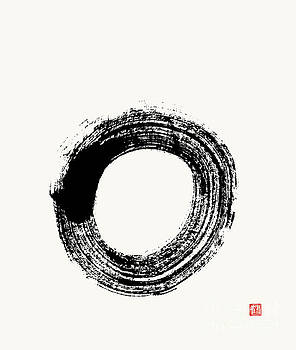 Flying White Zen Enso Circle by Nadja Van Ghelue