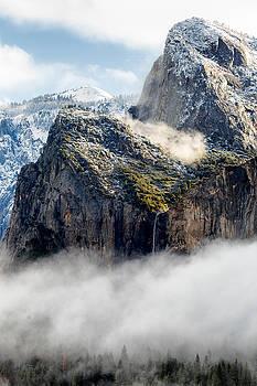 Fog and Bridalveil Falls Yosemite National Park by Troy Montemayor