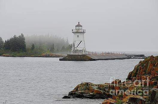 Fog and the Grand Marais Light by Sandra Updyke