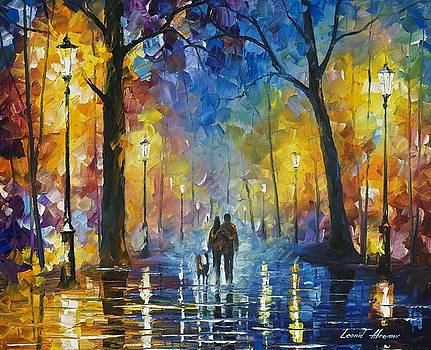 Fog In The Park 3 - PALETTE KNIFE Oil Painting On Canvas By Leonid Afremov by Leonid Afremov