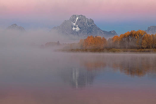 Foggy Alpen Glow at Oxbow Bend D3517  by Wes and Dotty Weber