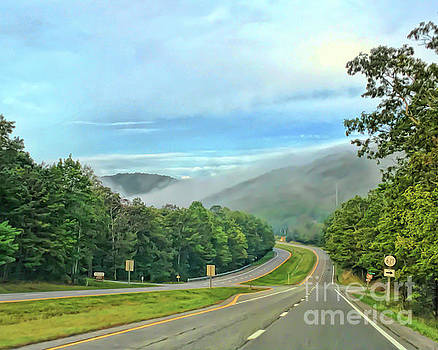 Foggy Morning Along The Road by Kerri Farley