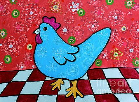 PRISTINE CARTERA TURKUS - FOLK ART ROOSTER