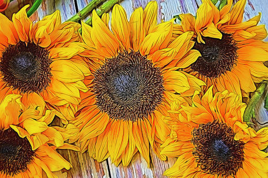 Folk Art Sunflowers by Garry Gay