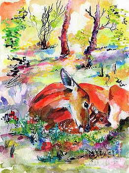 Ginette Callaway - Forest Life Doe and Fawn Watercolor