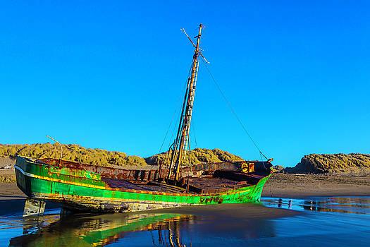 Forgotten Green Fishing Boat by Garry Gay