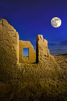 Fort Churchill Moonset by Janis Knight