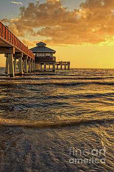 Fort Myers Beach Fishing Pier at Sunset by Edward Fielding