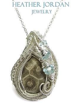 Fossil Coral Wire-Wrapped Pendant in Sterling Silver with Swarovski Crystals- FCRLPSS1 by Heather Jordan