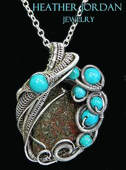 Fossilized Dinosaur Bone Pendant in Antiqued Sterling Silver with Turquoise and Chain - DINOPSS6 by Heather Jordan