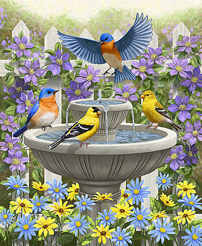 Fountain Festivities - Birds and Birdbath Painting by Crista Forest
