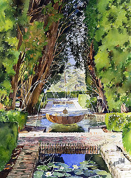 Fountains in the gardens of the Generalife Granada Spain by Margaret Merry