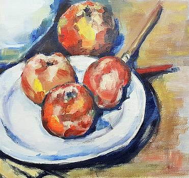 Four Apples and a Knife Cezanne Interpretation by Christel Roelandt