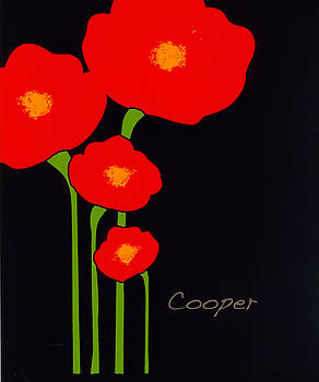 Four Red Flowers on Black by Peggy Cooper