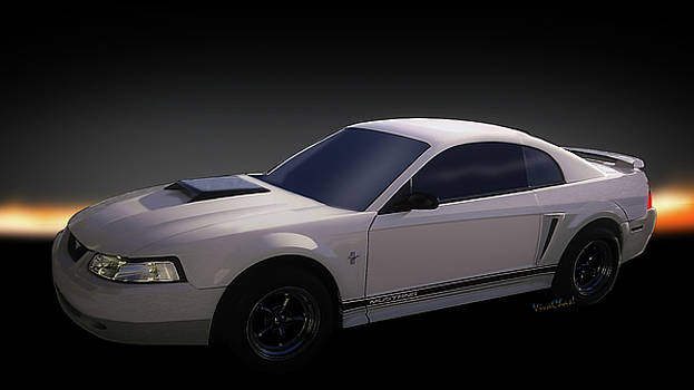 Fourth Generation Mustang Coupe Automotive Art by Chas Sinklier