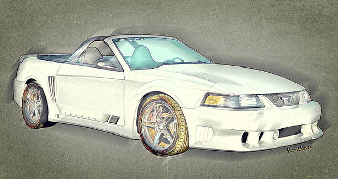 Fourth Generation Mustang Saleen Rag Top Colour Sketch by Chas Sinklier