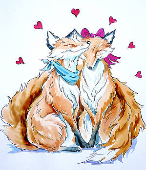 Foxes In Love by Debbie  Diamond