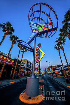 Fremont East District Neon Signs From the West at Dusk by Aloha Art
