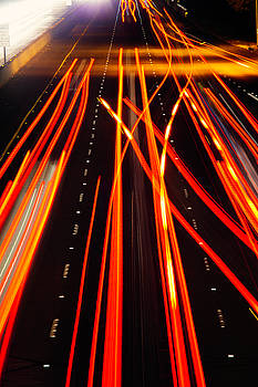 Freeway Tail Lights by Garry Gay