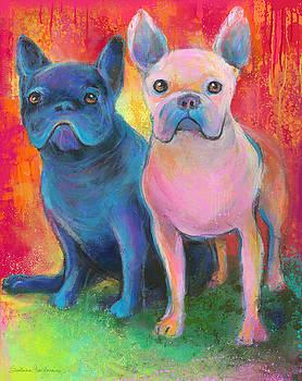 Svetlana Novikova - French Bulldog dogs white and black painting