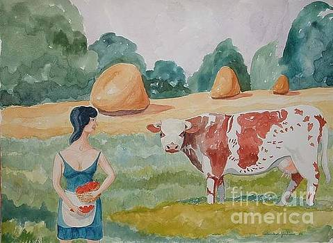 French Cow and Maid by Fred Jinkins