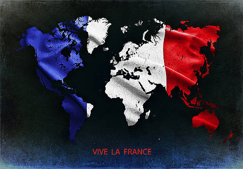 French flag on the world map by Christo Christov