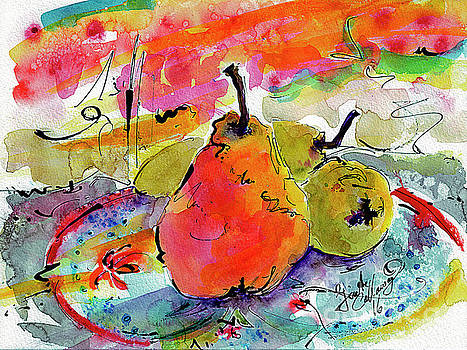 Ginette Callaway - French Pears Watercolor and Ink Whimsical Art
