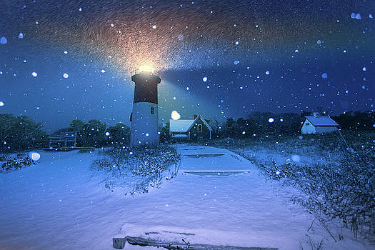 Fresh Snow On Nauset Lighthouse by Dapixara Art