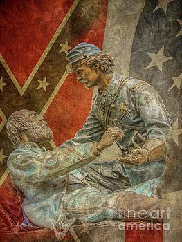 Friend to Friend Monument Gettysburg Flags by Randy Steele