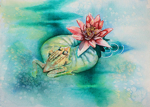 Frog and Lily Pad by Carol Rhodes