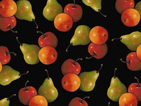 Joyce Geleynse - Fruit in Oil Pastel Pattern on Black