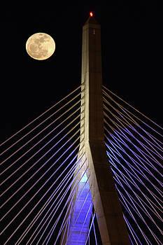 Juergen Roth - Full Moon Across Boston Bunker Hill Bridge