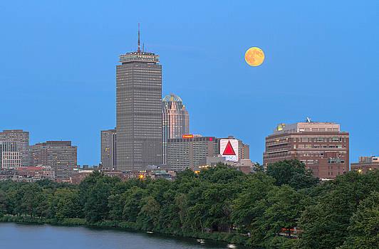 Juergen Roth - Full Moon Across Boston Skyline