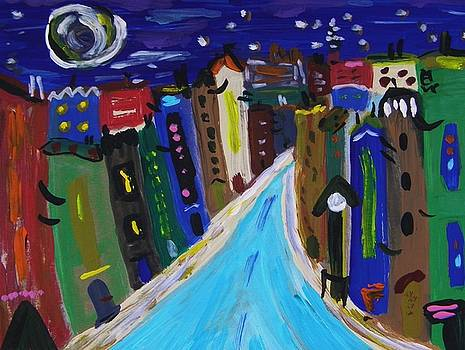 Full Moon and Blue Road by Mary Carol Williams